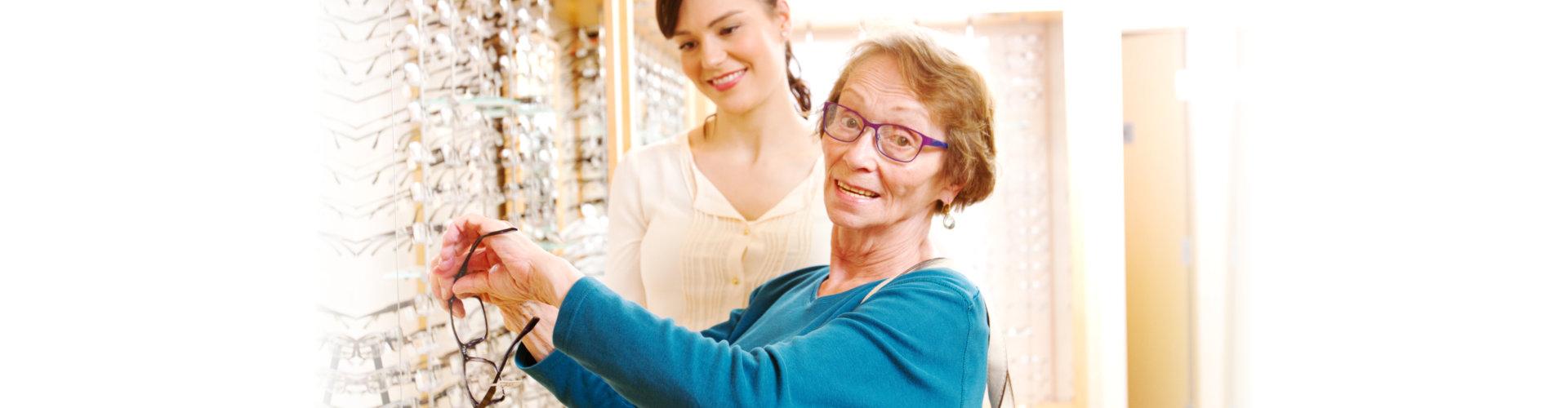 elderly choosing glasses