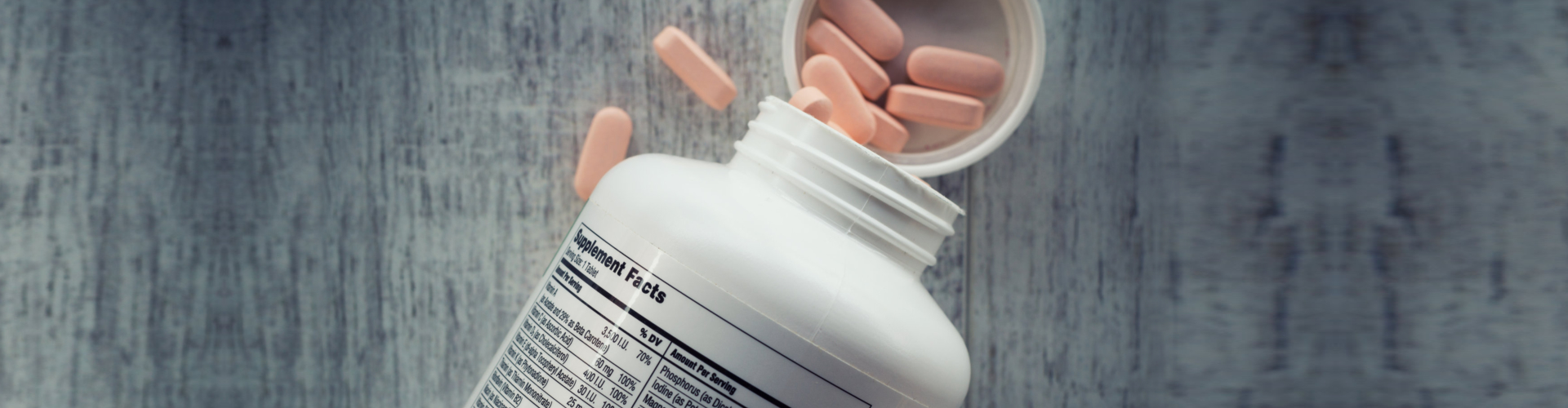 Closeup of a bottle of vitamins